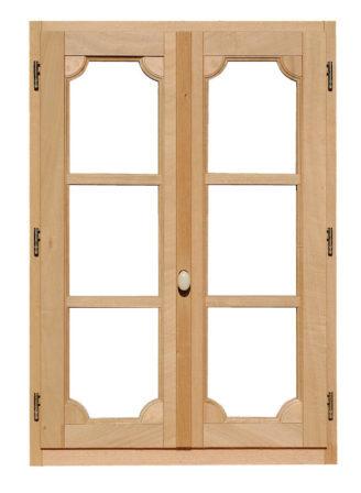 finestra in legno mogano